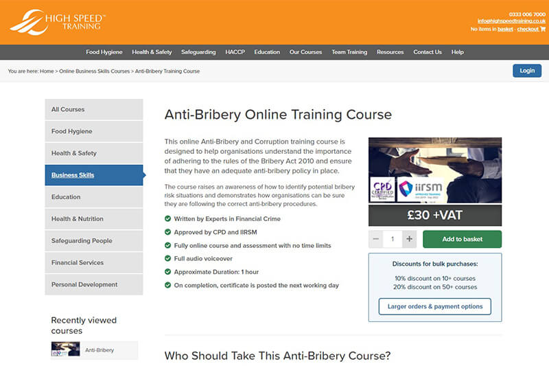 High Speed Training bribery course