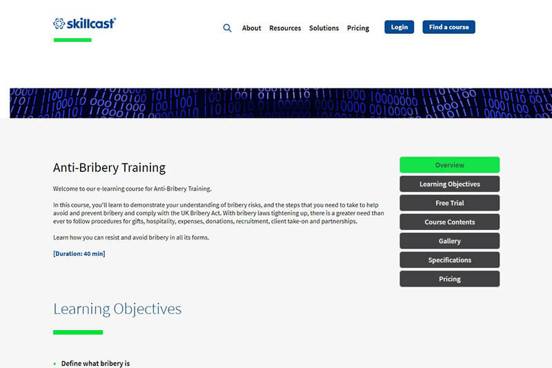 Skillcast anti-bribery e-learning