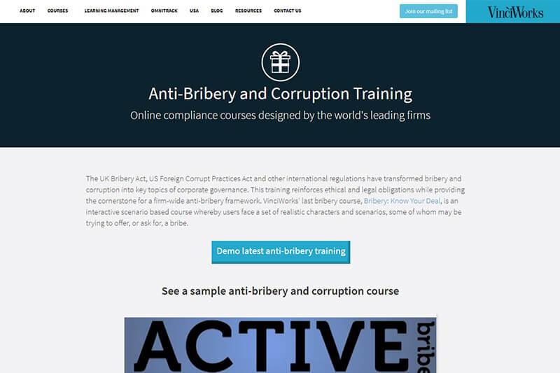 VinciWorks online anti-bribery courses