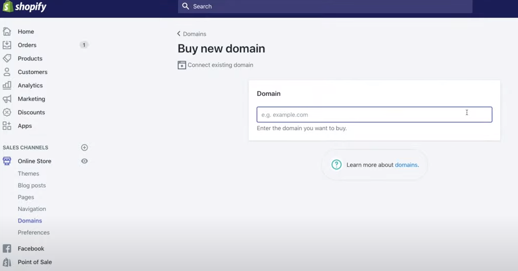 Buy a domain name for an ecommerce website